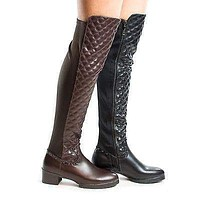 Demy1 By DBDK, Quilted Over Knee Studded Block Heel Zip Up Riding Boots