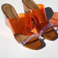 MARYAM NASSIR ZADEH | Olympia Wedge - Orange Plastic/Bark Patent