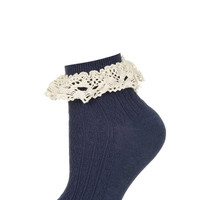 Navy Crochet Trim Ankle Socks - Tights & Socks - Clothing - Topshop
