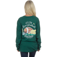 Lauren James Long Sleeve Tee- Love and Football- Evergreen