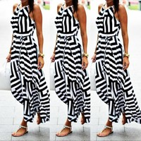 Fashionable Sexy Geometric Suspended Dresses Printed Dresses and Long Skirts