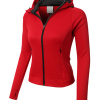 LE3NO PREMIUM Womens Athletic Zip Up Long Sleeve Sports Running Jacket with Hoodie (CLEARANCE)