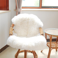 Soft Hairy Artificial Carpet Sheepskin Chair Cover Seat Pad Plain Skin Fur Plain Fluffy Area Rugs Washable Bedroom Faux Mat