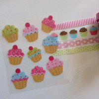 Cupcake Birthday Stickers Washi Tape For Erin Condren Life Planner Filofax Project Life Scrapbook Smashbook Plum Paper Designs ECLP