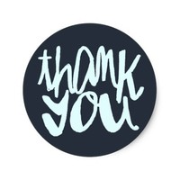Modern Navy Blue Two-toned Thank You Sticker