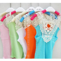 Children Girl Summer Cute Tank Vest Tops Cut Out Backless Lace Colorful Condole Belt Dress Hook Flower Solid Color Sweet Simple Kid Clothing