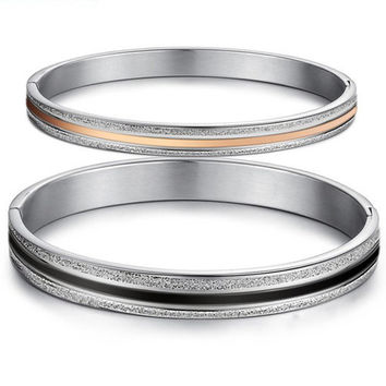 Buy matching his and hers friendship couple bracelet sets at sale price - Gullei - - Frosted 316L titanium gold plated girlfriend gift pair bracelets