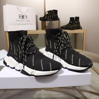 Balenciaga Speed Trainers Black White Lace-up Sneakers - Best Deal Online