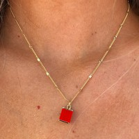 Magic In The Sky Necklace: Red/Gold