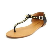 Spiked T-Strap Flat Sandal: Charlotte Russe