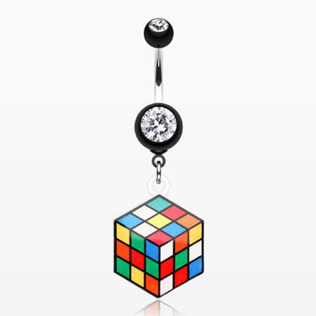 Retro Rubix Cube Belly Button Ring