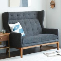 James Harrison Settee - Asphalt Tweed