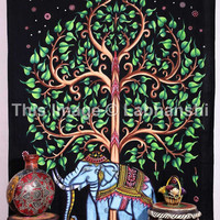 Elephant Tapestries , Hand Painted tapestry , Tree Of Life Tapestries , Wall Tapestries , Bohemian tapestries, Indian Tapestry Wall Hanging