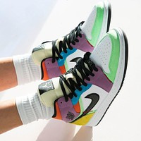 "Air Jordan 1 Mid ""Light Bulb"" color stitching sneakers basketball shoes"
