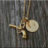 Gold Revolver Charm Necklace, Initial Charm Necklace, Personalized, Gun Charm, Law Enforcement Pendant, Gun Jewelry, Law Enforcement charm