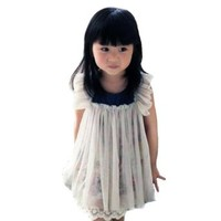 Zehui Baby-girls Faux Floral Lined Tulle Chiffon Dress (2 Piece)