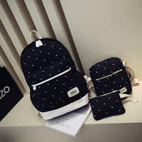 Canvas Women Backpack big student book bag with purse laptop 3pcs set Korean style Girl School Bags For Teenagers CF