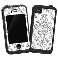 """Dainty Black and White Damask """"Protective Decal Skin"""" for LifeProof iPhone 4/4s Case"""