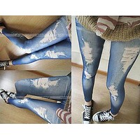 Hotwomen denim tight slim pencil pants ripped jeans legging render pants leggings