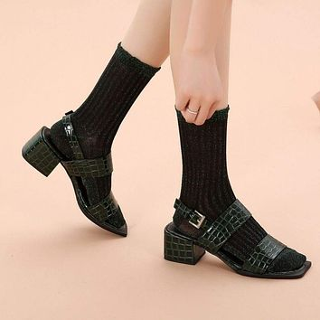 Aliyah Scallop Sparkle Crew Sock | Green