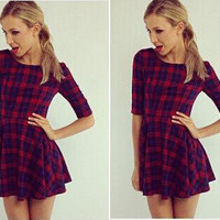 Casual Plaid Pattern Half Sleeve Mini Skater Dress