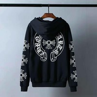 Chrome Hearts Women Casual Horseshoe Letter Print Loose Long Sleeve Hooded Sweater Tops Coat I-CN-CFPFGYS