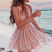 Pink Lace V-neck Sequin Homecoming Dresses