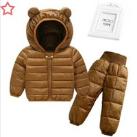 Hot sales! 1-5 yrs,baby boy and girls winter hooded jacket coat+trousers Waterproof snow warm suit,children clothing suit