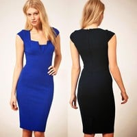 Chic Split Neck Bodycon Cap Sleeve Business Formal Party Dress Casual Solid 6610