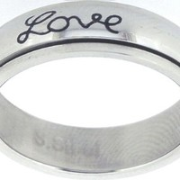 """Solid Rock Jewelry STAINLESS STEEL """"Faith, Hope, Love"""" CHRISTIAN BIBLE VERSE SPIN RING STYLE 321-SIZE 4"""