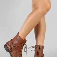 Qupid Press-43 Studded Spike Round Toe Lace Up Boot