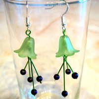 """Pierced Earrings Dangles """"Lily"""" Green and Purply Blue Flowers"""