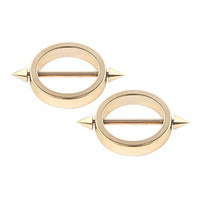 Ruifan 1Pair 14G Nipple Shield Ring Bars 316L Surgical Steel Circle Plating Gold Bar with Spikes Body Piercing Jewelry