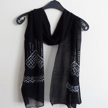 Cotton Scarf, Unisex Scarf in Black and White, Hand Stamped Scarf for her for him, Fall Autumn Fashion