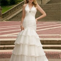 Sexy Deep V- neck With Halter Ruched Chiffon Small Train Wedding Dress WD1003