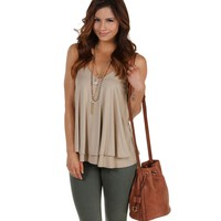 Sale- Brown That Girl Double Layer Top