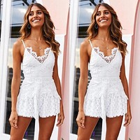 Sexy White Sleeveless Spaghetti Strap Lace Bodysuit