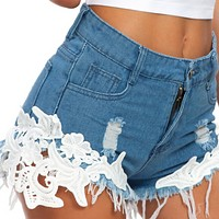 New summer REM sexy high waist fashion lace denim shorts