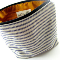 Natuical Makeup Bag, Ticking Stripe, Canvas, Blue and Cream, Zippered, Mustard Orange, Lined, Poncho Style, Large, irregular, discounted
