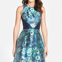 Women's Theia Floral Print Sleeveless Fit & Flare Dress,