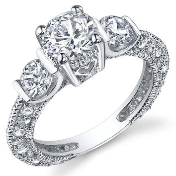 Sterling Silver Wedding Engagement Ring with Cubic Zirconia CZ = 1933136324