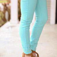 Colored Skinny Jeans - Mint