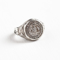Vintage Sterling Silver Indiana Normal School of Penn IUP Class Ring - Art Deco 1920s Size 3 3/4 College School Teacher Repousse Jewelry