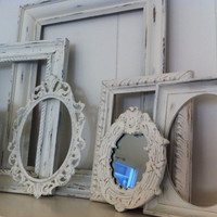 Empty Gallery Frames White Shabby Chic Vintage Frame Set and Mirrors Mother Goose Open Frames Gallery Wall Frames