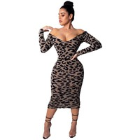 Women Fashion Leopard Grain Sexy Deep V Neck Bodycon Dresses Designer Long Cap Sleeve Clothing Fashion Female Casual Apparel