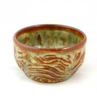 Cereal bowl in green and brown hand carved stoneware pottery | ugabugabowls - Housewares on ArtFire