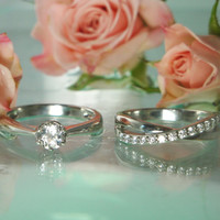 Herkimer Diamond Engagement Ring With Contemporary Style Wedding Band