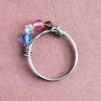 Blue Pink Brown Clear Crystal Bead Ring, Stainless Steel Wire Wrapped, Size 7, Womens Teen Jewelry, Wife Girlfriend Mom Sister Daughter Gift