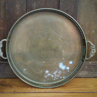 Vintage Brass Tray with Floral Handle Boho Bar Tray