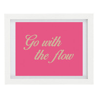 Go With The Flow, Inspirational Print, Inspiring Art, Typography Print, Modern Home Decor, Pink, Positive Thinking, 8 x 10 Print